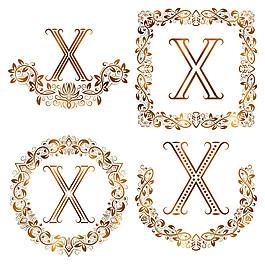 X花紋字母組合圖片