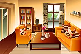 黃色客廳效果圖圖片