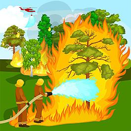 正在滅火的消防員圖片