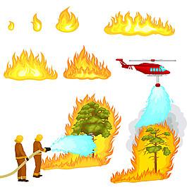 直升飞机和消防员灭火图片