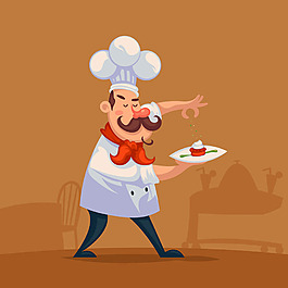 廚師端著菜走路背景