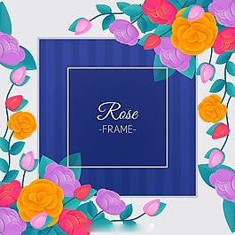 裝飾有彩色玫瑰的邊框背景