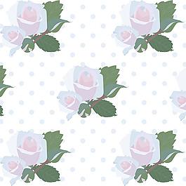 手繪帶綠葉鮮花花紋背景