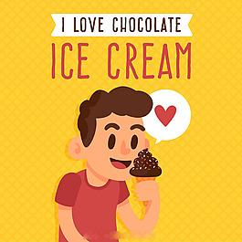 男孩吃巧克力冰淇淋橙色背景