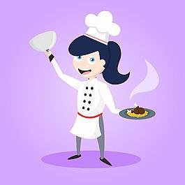 快樂廚師與雞肉盤紫色背景