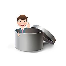金屬罐里的人物插圖背景