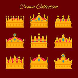扁平風格鑲嵌寶石的皇冠