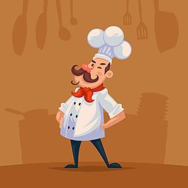 手繪廚師插圖餐具剪影背景