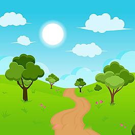 綠色野外風景背景