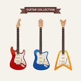 多色吉他插圖系列
