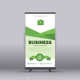 綠色企業商務易拉寶X展架模板