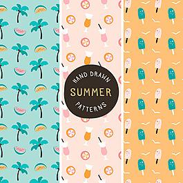 手繪三種夏季裝飾圖案背景