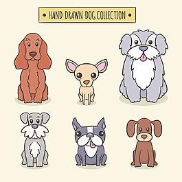 手繪各種狗插圖