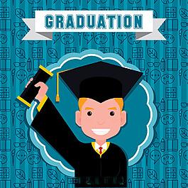 快樂男孩畢業了藍色背景