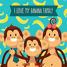 幸福猴子家庭香蕉圖案藍色背景