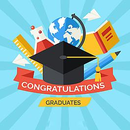 畢業帽和各種教育元素背景