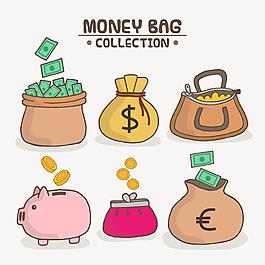 手繪儲錢罐錢包錢袋插圖