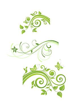 矢量精致綠葉圖案