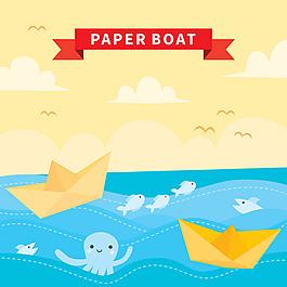 紙船大海天空背景