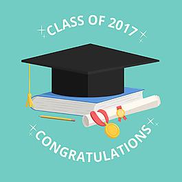 畢業帽與書籍文-憑背景