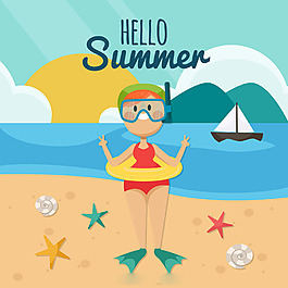 微笑的人夏天海灘背景