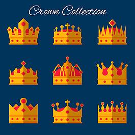 紅色寶石皇冠平面設計圖標