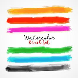 彩色水彩畫筆效果矢量素材