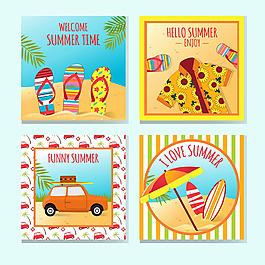 四個夏季裝飾物品卡片
