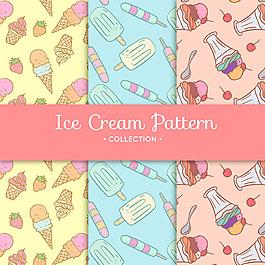 幾種手繪風格冰淇淋裝飾圖案