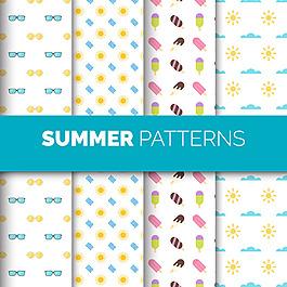 幾個夏天元素裝飾圖案背景