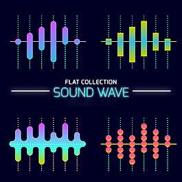 幾個聲波圖形平面設計素材