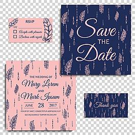 帶羽毛圖案的婚禮邀請卡