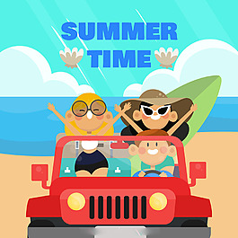 一群年輕人坐汽車夏天海灘背景