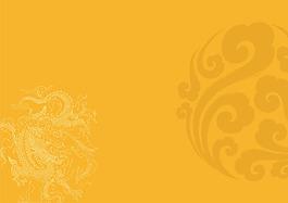 手繪花紋黃底背景