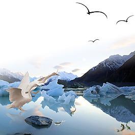 白鶴魚大雁冰山石頭素材