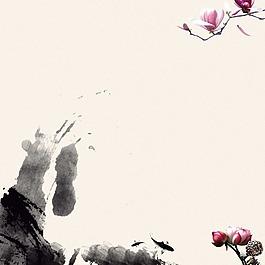 蓮花魚兒花朵花瓣潑墨素材