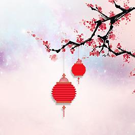 梅花燈籠流蘇星空粉色背景素材