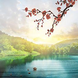 森林石頭湖面梅花素材