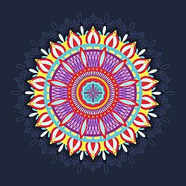 五顏六色的曼陀羅花紋抽象背景