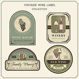 復古風格葡萄酒貼圖標