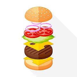 美味漢堡組合圖平面背景