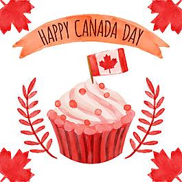 加拿大國慶日蛋糕背景