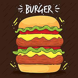 手繪風格多層漢堡背景
