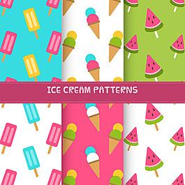 四種夏天冰淇淋裝飾圖案背景