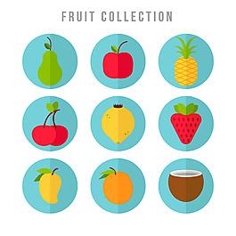 圓形水果圖標集合