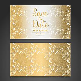 白色花紋金色婚紗卡設計