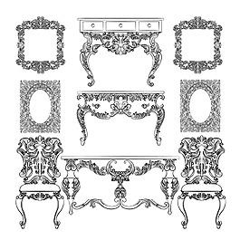 美麗的奢華復古家具插圖