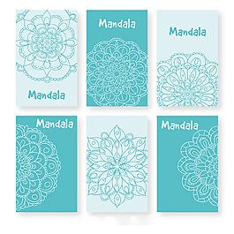 藍色背景曼陀羅花紋設計系列