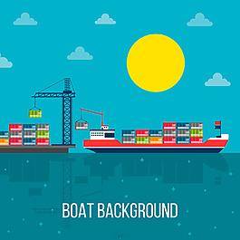 彩色集裝箱船藍色背景