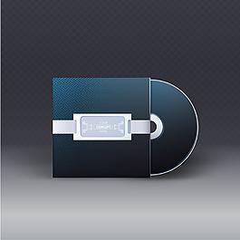 現代簡約深藍色光盤包裝盒